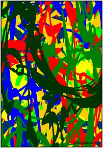 Amazonie ou sous bois en été. Image numérique