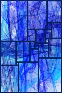 Volutes bleues au carré parfait dilaté 1 – Image numérique - numerical pictures - FLK 2018